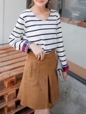 質感素色麂皮壓紋造型A字裙.2色