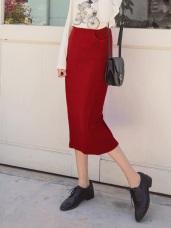 腰鬆緊雙口袋直條立體織紋鉛筆裙