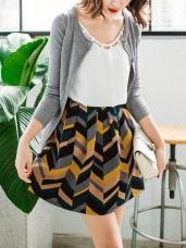波浪幾何配色腰圍鬆緊短裙