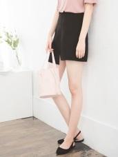 質感不對稱前後開衩設計短裙.2色