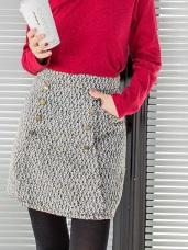 混色毛呢質感排釦造型A字短裙.2色