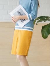 素色開衩襬後拉鍊中長窄裙.2色