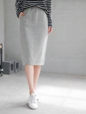 素色仿針織腰圍鬆緊合身棉感中長裙.3色