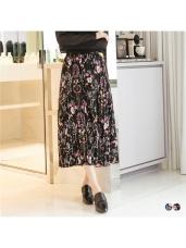 華麗風格色彩印花立體壓紋後腰鬆緊長裙.2色