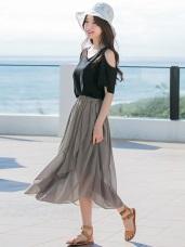 素面不規則魚尾裙襬設計腰圍鬆緊雪紡長裙.2色