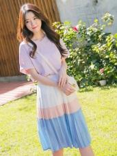 配色層次百摺造型腰圍鬆緊雪紡長裙.2色