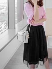 銀蔥鬆緊腰圍圓環設計亮面質感拼接百摺紗裙
