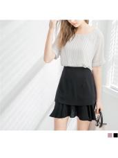 雪紡層次魚尾襬造型短裙.2色
