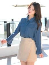 金屬環造型光澤感素色一片式A字短裙.2色