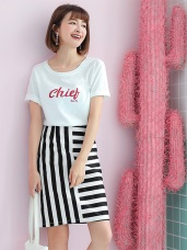 黑白直橫條紋造型高腰中長裙