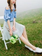 滿版小碎花百摺造型鬆緊腰圍半身裙.2色