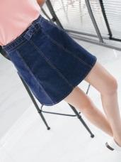 車縫造型蝴蝶結腰頭設計A字牛仔短裙