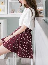 好質感花瓣印花後腰圍鬆緊下襬打褶A字短裙.2色