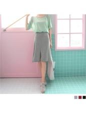 素色造型開衩後腰鬆緊彈性中長裙.3色
