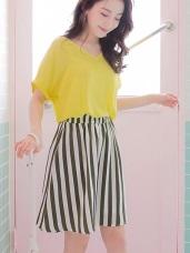 配色直條紋腰圍鬆A字裙.2色