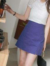 前襬開衩後腰鬆緊高含棉純色A字短裙