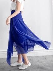 不規則剪裁亮面感雪紡二穿式洋裝/長裙