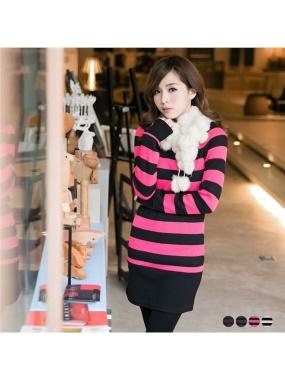 焦點女孩~橫條紋船型領保暖內刷毛長版上衣.4色