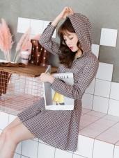 細格紋開襟傘襬連帽洋裝
