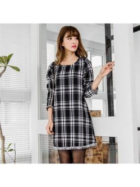 經典黑白格紋流蘇下襬X袖口洋裝