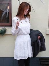 立體蕾絲流蘇鬆緊長版上衣/洋裝.2色
