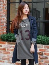 T.SWIFT英文字母燙印長版上衣/洋裝