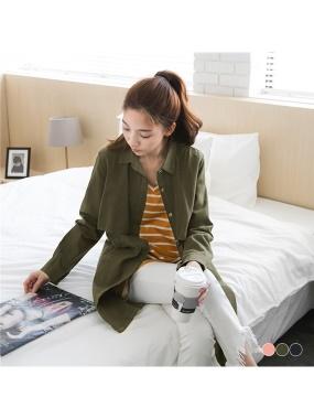 風衣式素色斜紋內抽繩雙口袋長版外套/洋裝.3色