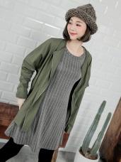 條紋傘襬反褶袖洋裝.2色
