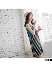 兩件式條紋立體口袋剪裁洋裝.3色