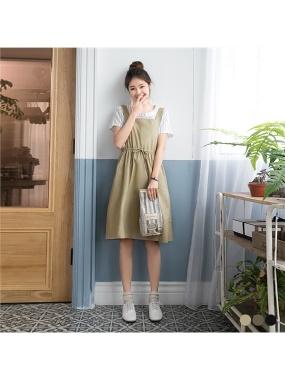 簡約素面腰抽繩設計無袖洋裝.3色