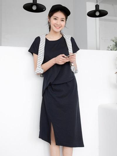 素色不對成剪裁連袖洋裝.2色
