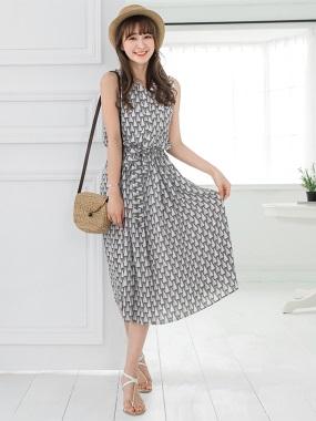 幾何三角半開襟腰鬆緊綁帶襯衫領無袖長洋裝.2色