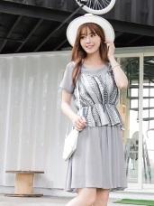 幾何縮腰設計小可愛x雪紡兩件式洋裝.2色