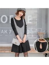 後背鏤空開釦造型修身洋裝.2色