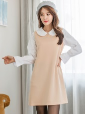 素面仿太空棉拼接公主領洋裝.2色