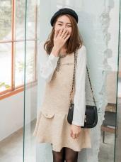 混色毛呢織帶珍珠點綴造型背心傘襬洋裝.2色