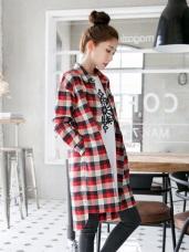 配色格紋棉感寬鬆長版襯衫/洋裝.2色