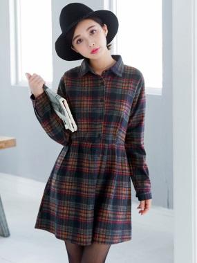 格紋腰間打摺襯衫洋裝/外套.2色