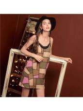 麂皮不規則色塊造型皮革細肩帶洋裝.1色