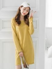 素色不收邊下擺造型圓領棉感長版上衣/洋裝