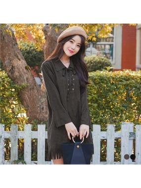 素色麂皮質感交叉綁帶襯衫領下擺流蘇造型洋裝.2色