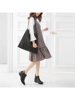 復古風配色格紋拼接荷葉裙襬棉感背心洋裝