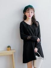 雪紡拼接蕾絲花鏤空袖口V領打褶寬鬆洋裝.2色