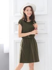 素色竹節棉雙口袋縮腰小蓋袖洋裝.5色