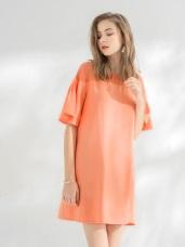 雪紡透膚領拼接小傘襬短袖寬鬆洋裝.2色