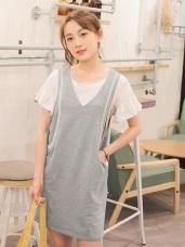 條紋羅紋拼接造型雙口袋V領休閒洋裝.2色