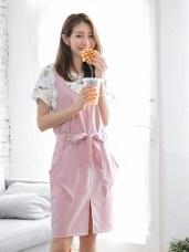 口袋設計前襬開衩腰間綁帶造型無袖洋裝.3色