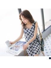 配色幾何印花縮腰設計雪紡背心洋裝.2色