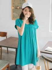 鏤空露背前襟抓皺高含棉反折袖寬鬆長版上衣/洋裝.3色