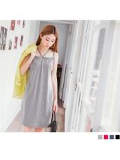 質感素色肩帶造型棉感洋裝.4色